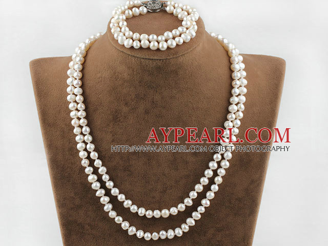 Two Strands Natural White Freshwater Pearl Bridal Sets (Necklace and matched bracelet)