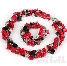 Multi Strands Red Coral and Crystal Sets