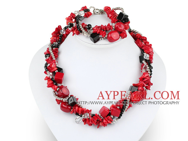 Multi Twisted Strands Red Coral Silver Beads And Crystal Sets (Necklace With Matched Bracelet)