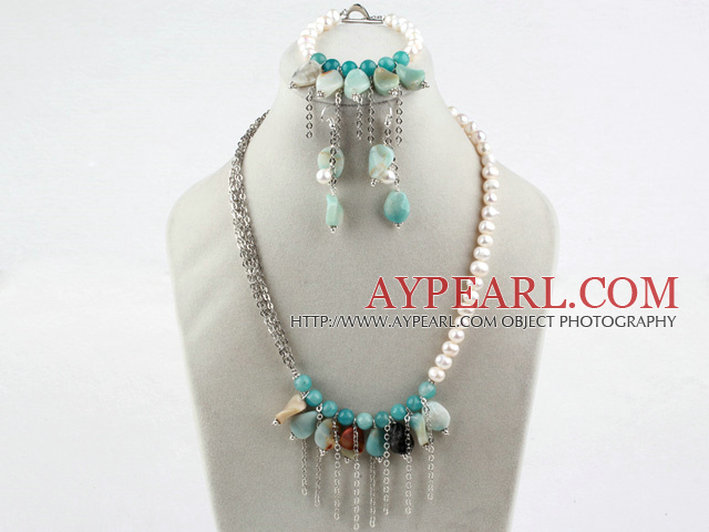New Deisgn White Freshwater Pearl and Amazon Stone Set(Necklace Bracelet and Matched Earrings)