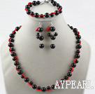 Wholesale Black Seashell Beads Sets(Necklace Bracelet and Matched Earrings)