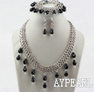 Wholesale New Design Drop Shaped Black Agate and Metal Chain Set(Necklace Bracelet and Matched Earrings)