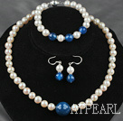 Wholesale A Grade Round Natural White Freshwater Pearl and Blue Agate Set ( Necklace Bracelet and Matched Earrings )