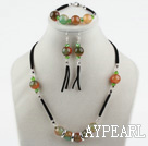 Red and Green Agate Set with Black Cord(Necklace Bracelet and Matched Earrings)