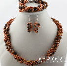Multi Strand eau douce Brown Pearl et Set Eye Tiger (Bracelet Collier et boucles d'oreilles assortis)