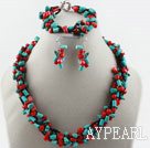 Wholesale Multi Strand Red Coral and Turquoise Set (Necklace Bracelet and Matched Earrings0