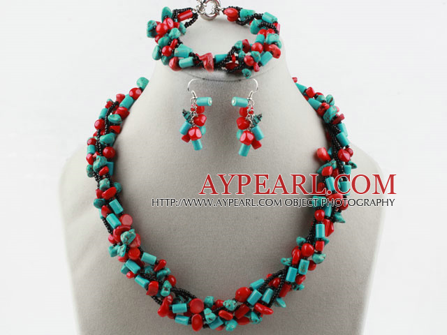 Multi Strand Red Coral and Turquoise Set (Necklace Bracelet and Matched Earrings0