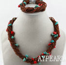 Wholesale Multi Strand Coral Turquoise and Glass Beads Set (Necklace and Matched Bracelet)