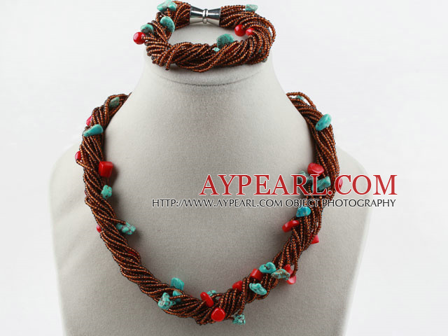 Multi Strand Coral Turquoise and Glass Beads Set (Necklace and Matched Bracelet)
