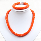Fashion Simple Orange Jade-Like Crystal Jewelry Set (Necklace With Matched Bracelet)