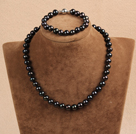 Rectangle Shape Dark Blue Agate Set ( Necklace and Matched Earrings )