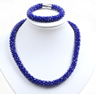 Wholesale Fashion Simple Blue Jade-Like Crystal Jewelry Set (Necklace With Matched Bracelet)