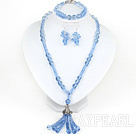 Assorted Sky Blue Crystal halskjede og matchede armbånd
