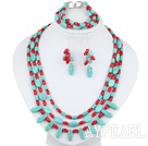 Wholesale New Design Multi Strand Red Coral and Turquoise Set(Necklace Bracelet and Matched Earrings)