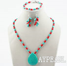 Wholesale New Design Red Coral and Turquoise Set (Necklace Bracelet and Matched Earrings)