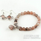 Wholesale 8mm Natural Sunstone Set (Beaded Elastic Bracelet and Matched Earrings)