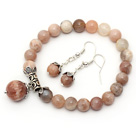 8mm En Grade Natural Sunstone Set (Beaded Elastic Armband och matchade Örhängen)