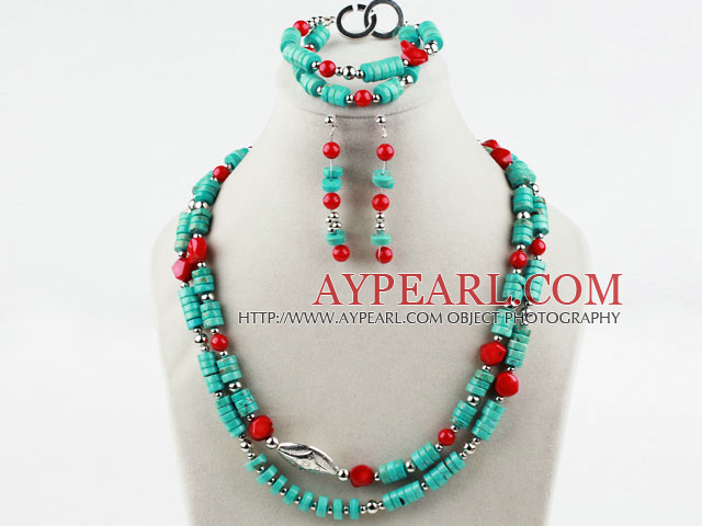 Disc Shape Turquoise and Red Coral Set (Necklace Bracelet and Matched Earrings)