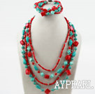 Multi Strand Assorted Turkos och Red Coral Set (Halsband och matchas Armband)