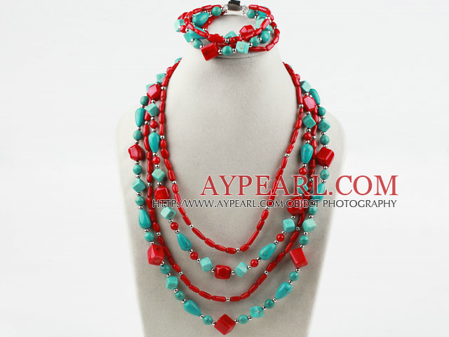 Multi Strand Assorted Turquoise and Red Coral Set (Necklace and Matched Bracelet)