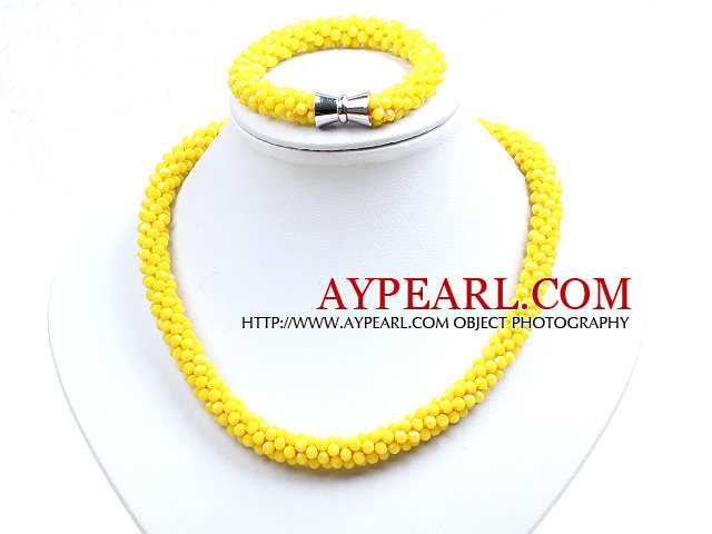 Fashion Simple Yellow Jade-Like Crystal Jewelry Set (Necklace With Matched Bracelet)