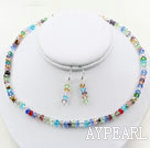 Multi Color Crystal Set ( Necklace and Matched Earrings )
