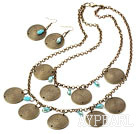 Vintage Style Bronze and Blue Crystal Set ( Necklace and Matched Earrings )