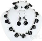 Black Agate and Black Crystal Set with Metal Chain ( Necklace Bracelet and Matched Earrings)