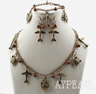 Wholesale Vintage Style Tiger Eye and Bronze Accessory Set (Necklace Bracelet and Matched Earrings)