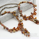 New Design Brown Pearl Crystal Set (Necklace and Matched Bracelet)