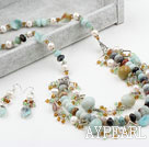 Wholesale New Design White FW Pearl and Crystal and Amazon Stone Set (Necklace and Matched Earrings)