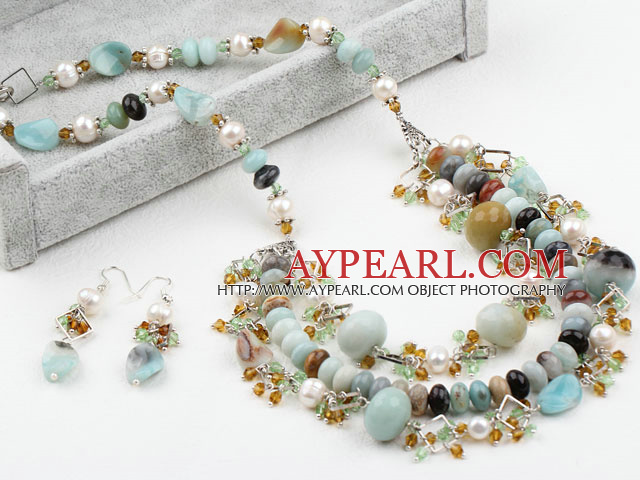 New Design White FW Pearl and Crystal and Amazon Stone Set (Necklace and Matched Earrings)