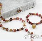 Wholesale Three Colored Jade Set (Necklace Bracelet and Matched Earrings)
