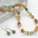 New Design Red Green Agate Spring Set (Necklace and Matched Earrings)