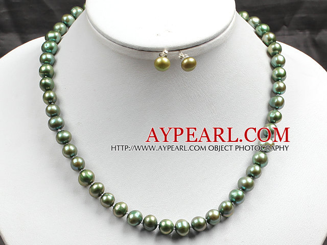 8-9mm Army Green Pearl Necklace and Matched Studs Earrings Sets