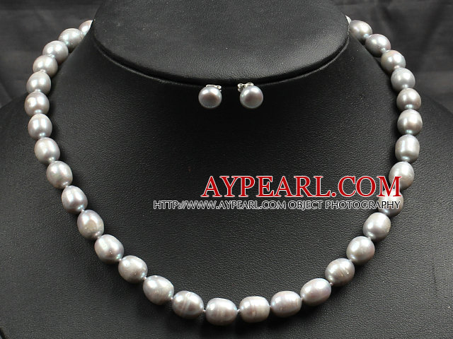 Gray Rise Pearl Necklace and Matched Studs Earrings Sets