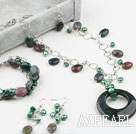 Indian Agate and Green Pearl Set (Necklace Bracelet and Matched Earrings)
