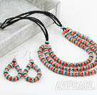 Wholesale New Design Disc Shape Coral and Turquoise Set (Necklace and Matched Earrings)