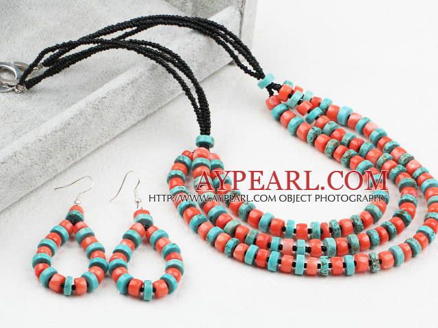 New Design Disc Shape Coral and Turquoise Set (Necklace and Matched Earrings)