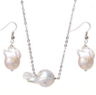 Simple Design Natural White Nuclear Pearl Set (Pendant Necklace With Matched Earrings)