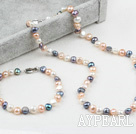 Wholesale Classic Design Three Color Freshwater Pearl Beaded Set (Necklace and Matched Bracelet)