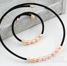 Simple de conception rose perle d'eau douce Choker Set (Collier et bracelet assortis)