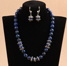 Wholesale 12mm Round Sodalite Beaded Set ( Necklace and Matched Earrings )