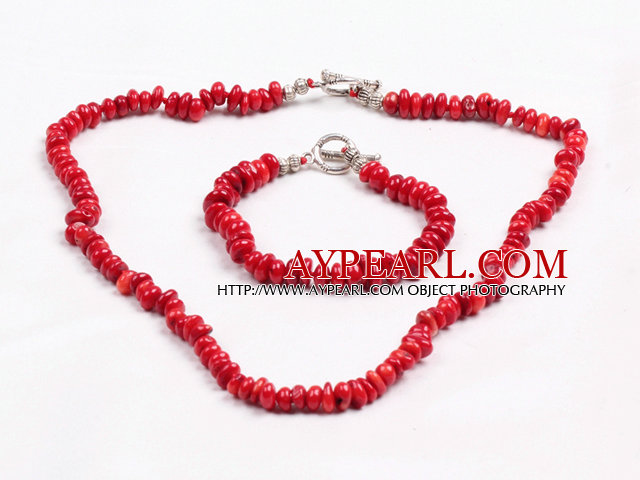Simple Style Irregular Shape Red Coral Beads Jewelry Set(Necklace With Matched Bracelet)