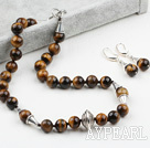 Wholesale New Design 12mm Round Tiger Eye Set ( Necklace with Matched Earrings )