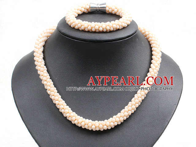 Fashion Simple Apricot Jade-Like Crystal Jewelry Set (Necklace With Matched Bracelet)