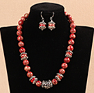 Wholesale New Design 12mm Red Imperial Jasper Set ( Necklace with Matched Earrings )