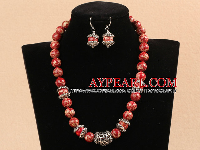 New Design 12mm Red Imperial Jasper Set ( Necklace with Matched Earrings )