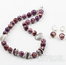 Wholesale New Design 12mm Purple Imperial Jasper Set ( Necklace with Matched Earrings )