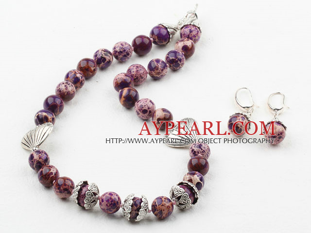 New Design 12mm Purple Imperial Jasper Set ( Necklace with Matched Earrings )